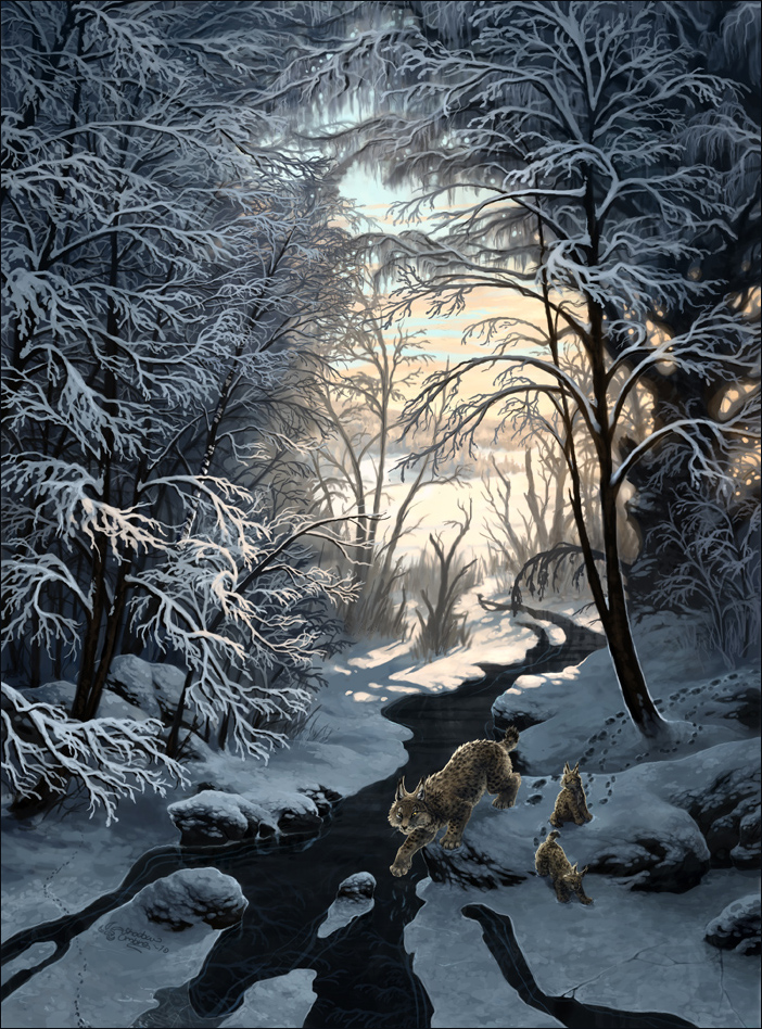 Lynx family in winter landscape. Painted by Minna Sundberg
